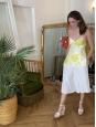 Yellow floral printed silk spaghetti strap tank top Retail price €490 Size XS