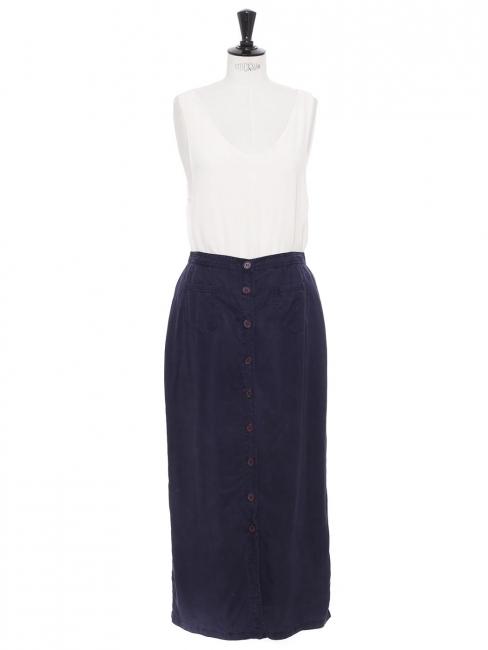 Navy blue coton button through maxi skirt Size 36/38
