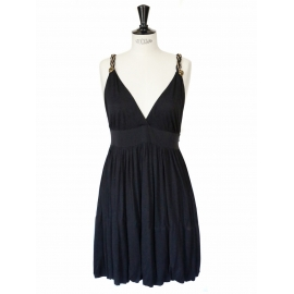 Black silk jersey cocktail dress with deep V décolleté and open back Retail price 1000€ Size 36