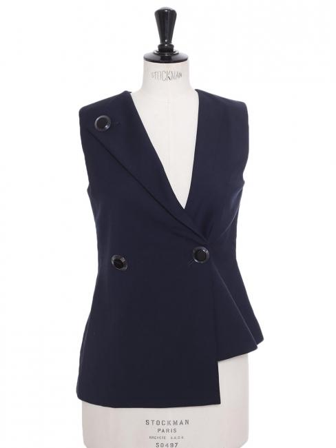 Midnight blue crepe asymmetric sleeveless top Retail price €250 Size XS to S