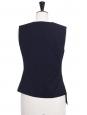 Midnight blue crepe asymmetric sleeveless top Retail price €250 Size 0