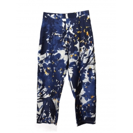 High waist navy blue yellow and white floral print silk pants Retail price €650 Size 38/40