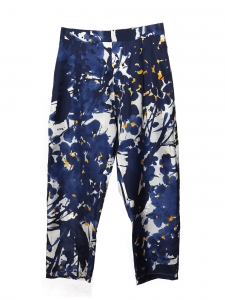 Pantalon taille haute en soie imprimé fleuri bleu marine jaune et blanc Prix boutique 470€ Taille 38/40