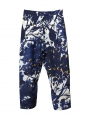High waist navy blue yellow and white floral print silk pants Retail price €470 Size 38/40