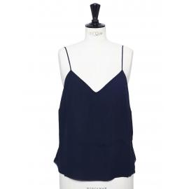 Navy blue silk thin straps top Retail price €580 Size L