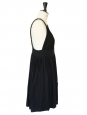 Décolleté and open back black cotton and silk dress Size 36