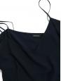 Top en soie à fines bretelles bleu marine Prix boutique