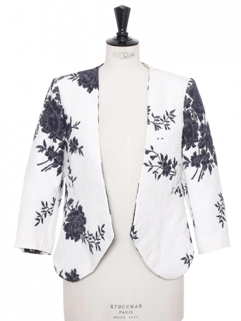 Navy blue and white flower jacquard cropped jacket Retail price $1777 Size 38