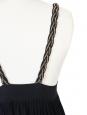 Décolleté and open back black cotton and silk dress Size 36