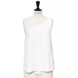 White linen and silk chiffon asymmetric top Retail price €1000 Size 40