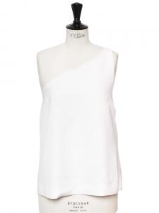 Top asymétrique en lin blanc et mousseline de soie Px boutique 1000€ Taille 40