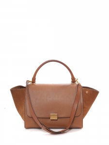 Medium size camel brown and suede leather TRAPEZE handbag with strap Retail price €2200