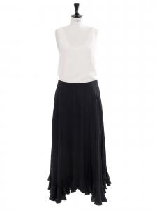 Long ruffles black silk crepe skirt Retail price $1750 Size 40