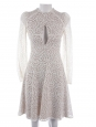 Long sleeves ivory white lace fit and flare dress Retail price €1100 Size 34