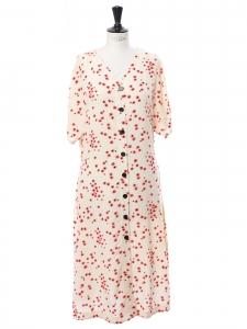 Robe mi-longue manches courtes à boutons fleuri rouge et blanc Taille S