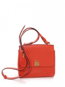 Bright red leather handbag with long strap Retail price €220