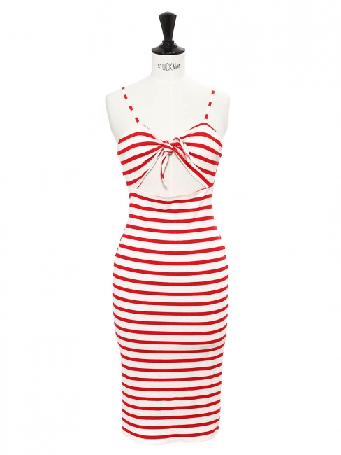 Mid-length white and red striped ribbed jersey heart shape dress Size 36