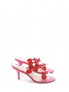 PETRA FIRENZE low heel fuchsia pink and red suede leather sandals Size 37