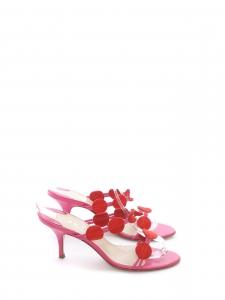 Sandales PETRA FIRENZE à petits talon en cuir rose fuchsia et suede rouge Taille 37