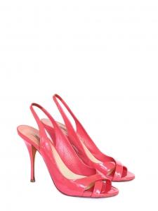 Sandales à talon en cuir verni rose bonbon Prix boutique 550€ Taille 37