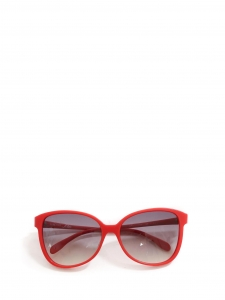 Bright red butterfly large sunglasses with blue lens