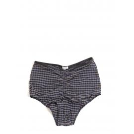 High waist brown and navy blue checked bikini briefs Size 36