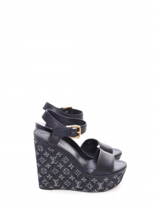 Waterfall navy blue leather and denim wedge sandals Retail price $895 Size 38.5