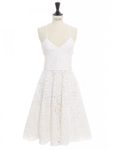 Open back fit and flare white eyelet lace dress Retail price €1000 Size XS