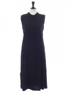 Robe sans manche longueur midi en crêpe bleu nuit Prix boutique 190€ Taille S