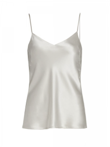 V-neck and deep open back pearl grey satin cami top Retail price €240 Size 40
