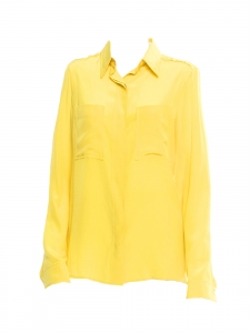 Bright yellow silk long sleeves blouse Retail price €500 Size 36