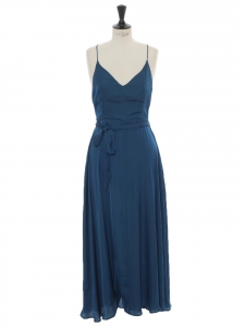 Teal blue satin thin strap belted maxi dress Size 38