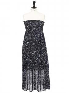 LIU JO flower print navy blue light strapless dress Retail price €205 Size 40
