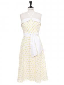 Robe années 50 bustier mi-longue en coton blanc à pois jaune et ceinture taille Taille 42