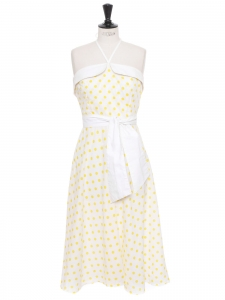 Yellow and white polka dot strapless 50's midi dress with belt Size 42