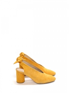 Sunflower yellow suede leather pumps with bow at back Size 38