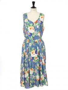 robe fleurie bleu