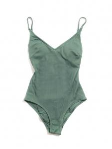 Maillot de bain une pièce dos nu bretelles croisées côtelé vert kaki Taille XS
