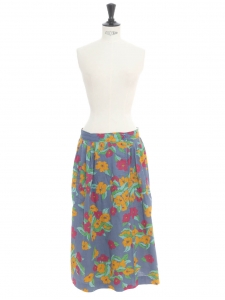 High waist flower print cotton maxi skirt in blue green fuchsia, orange yellow colors Size 34/36