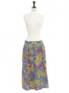 Jupe longue taille haute en coton fleuri bleu jaune orangé, fushia, vert et turquoise Taille 34/36