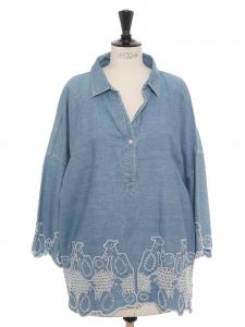 Blouse chemise oversized en jean bleu brodé de moutons Taille M à L