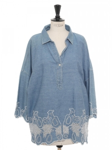 Oversized blue denim shirt with sheep eyelet embroidery Size M to L