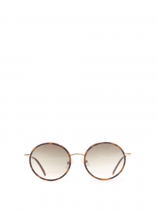 MAISON BOURGEAT Round tortoiseshell metal frame sunglasses with brown lens