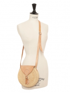 Beige raphia straw round bag with long natural nude leather strap