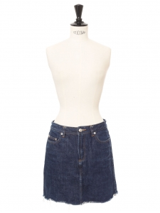 Mini jupe en jean bleu brut bas effiloché Px boutique 140€ Taille 34