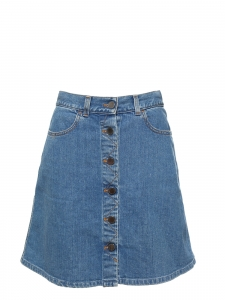 Jupe en jean à boutons en denim bleu moyen Prix boutique 345€ Taille 34/36