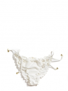White bikini briefs with side strings and mini gold shells Size 40