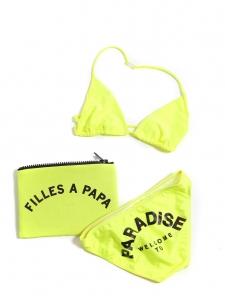 Maillot de bain deux pièces bikini jaune fluo WELCOME TO PARADISE Prix boutique 175€ Taille 34