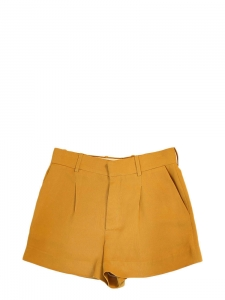 High waist mustard yellow pleated crepe shorts Retail price €490 Size 36/38