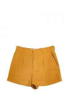 Short taille haute à pinces en crêpe jaune moutarde Px boutique 490€ Taille 36/38